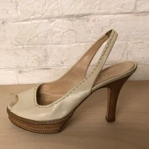 Prada Shoes - PRADA white slingback pumps with white stitching